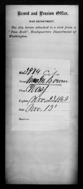 Bowen, M - State: Washington - Year: 1863