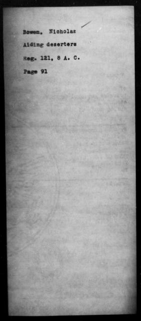 Bowen, Nicholas - State: [Blank] - Year: [Blank]