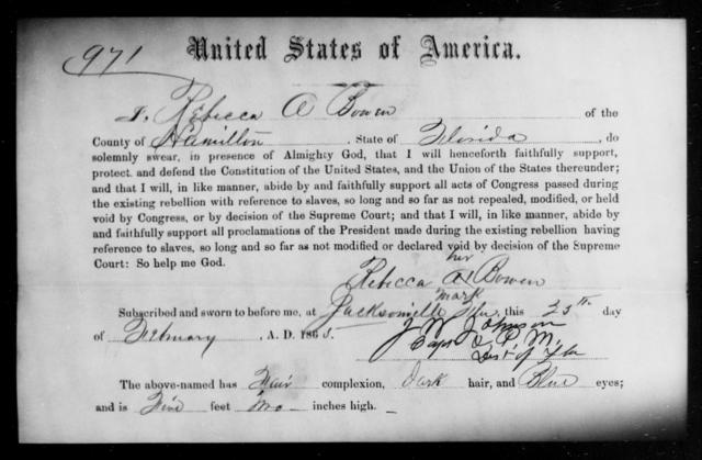 Bowen, Rebecca A - State: Florida - Year: 1865