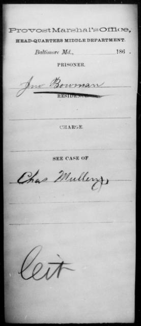 Bowman, Jno - State: Virginia - Year: 1864
