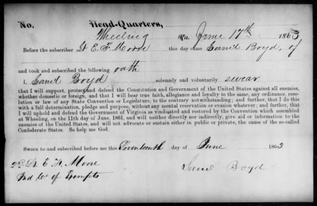 Boyd, Saml - State: Virginia - Year: 1863