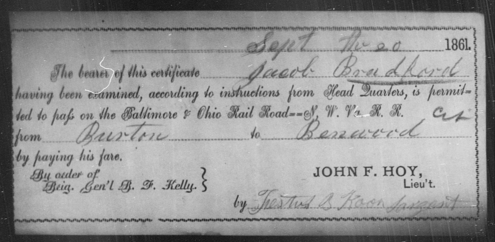 Bradford, Jacob - State: Ohio - Year: 1861