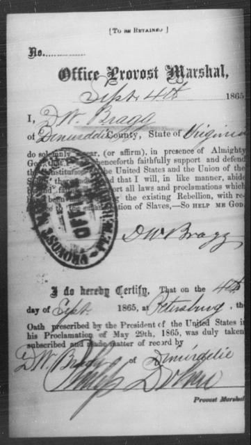 Bragg, D W - State: Virginia - Year: 1865