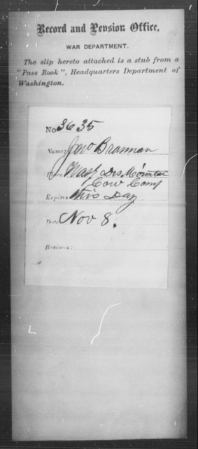 Brannon, Jno - State: Washington - Year: [Blank]