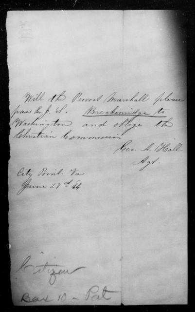 Breckenridge, J S - State: Virginia - Year: 1864