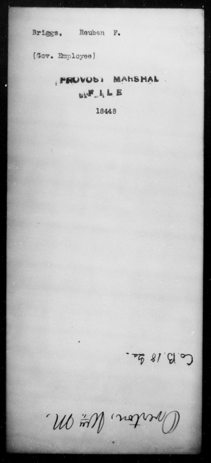 Briggs, Reuben F - State: [Blank] - Year: [Blank]