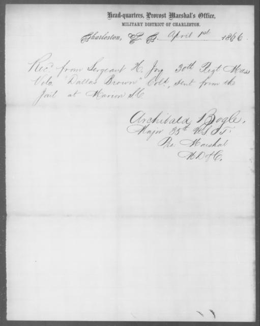 Brown, Dallas - State: South Carolina - Year: 1866