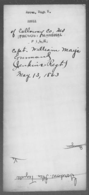 Brown, Hugh H - State: [Blank] - Year: 1863