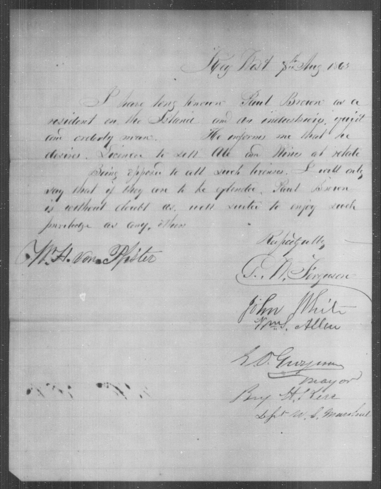Brown, Paul - State: Kentucky - Year: 1863