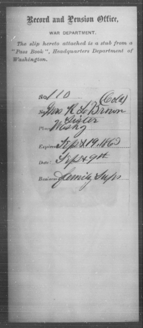 Brown, R L - State: Washington - Year: 1862