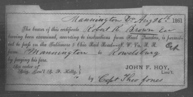 Brown, Robert R - State: Ohio - Year: 1861