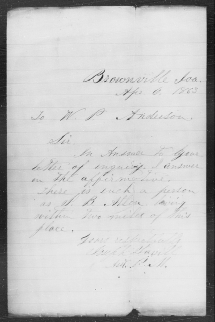Brownville, Iva - State: Missouri - Year: 1863