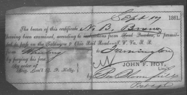 Bruning, N B - State: Ohio - Year: 1861