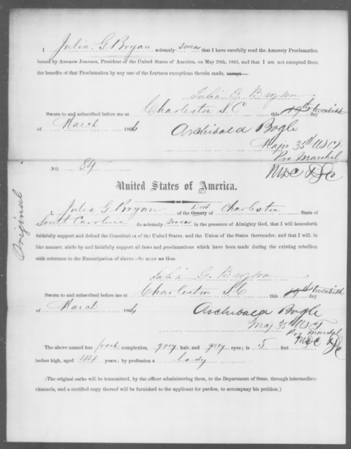 Bryan, Julia G - State: South Carolina - Year: 1865