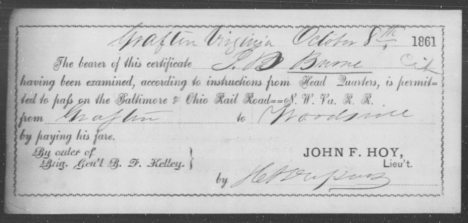 Burne, J B - State: Virginia - Year: 1861