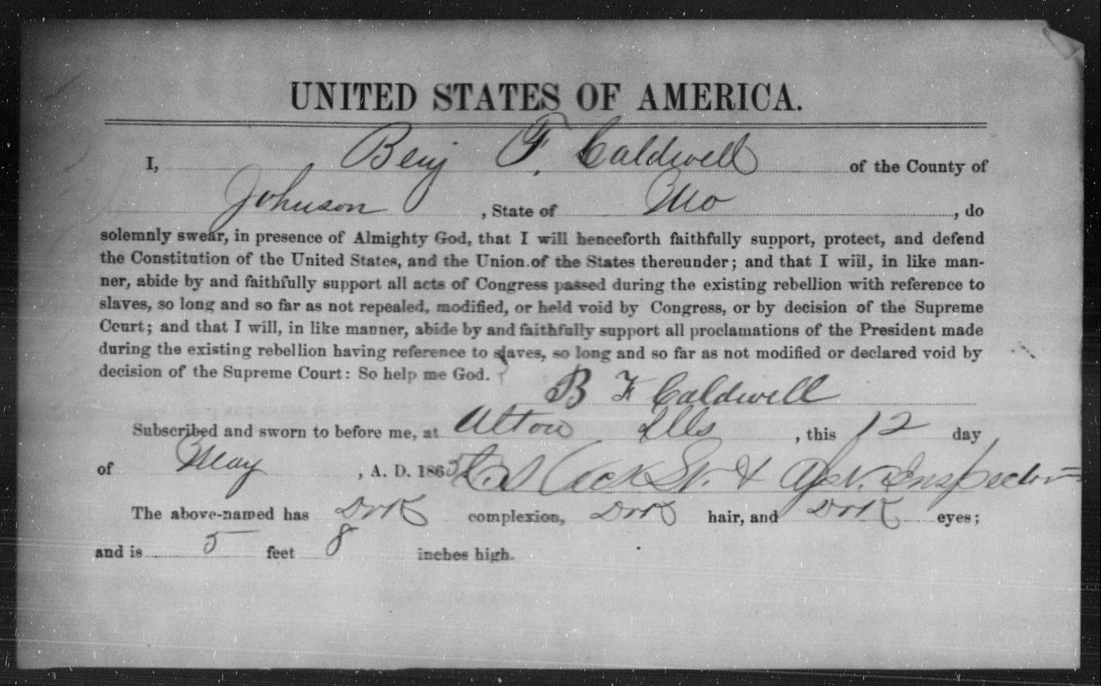 Caldwell, Benj F - State: Missouri - Year: 1865