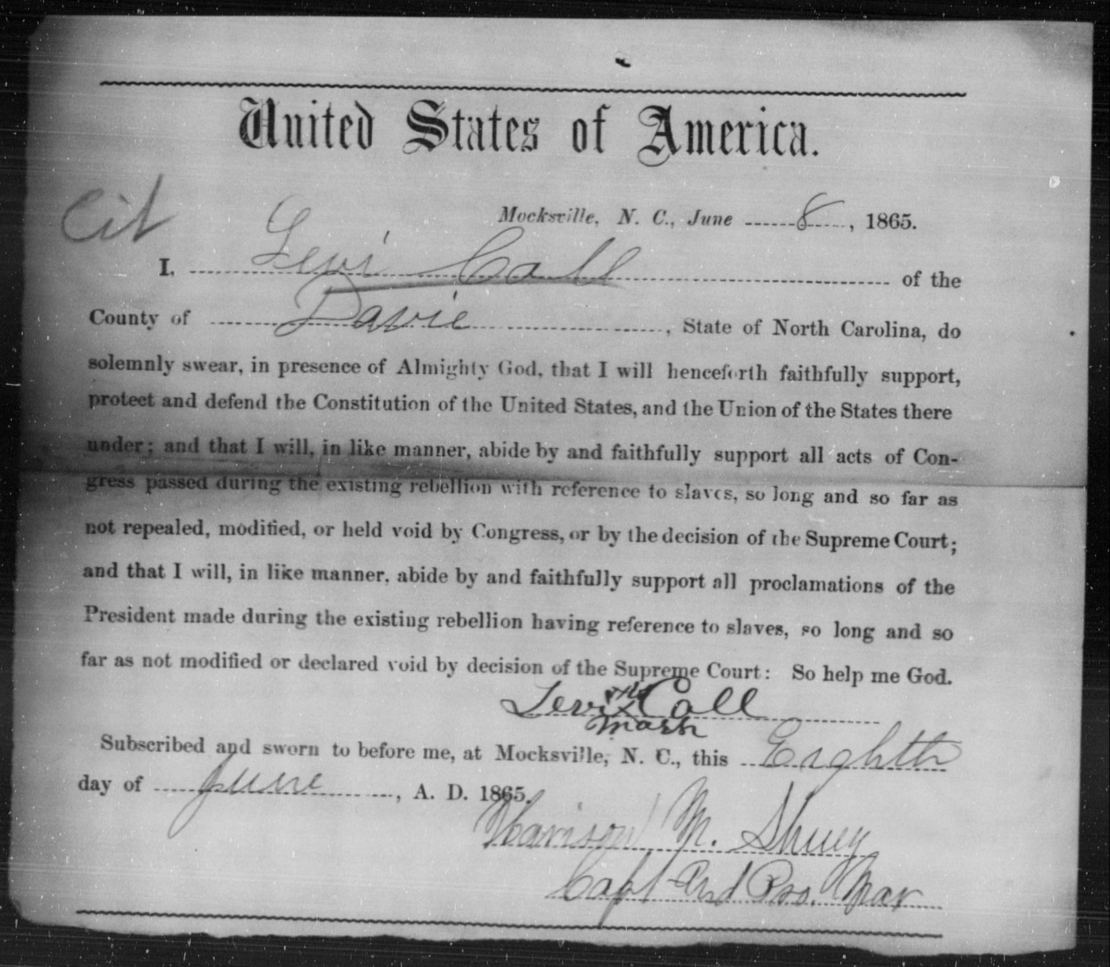 Call, Levi - State: North Carolina - Year: 1865