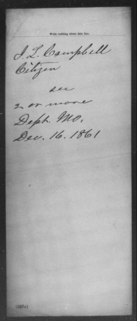 Campbell, J L - State: Missouri - Year: 1861