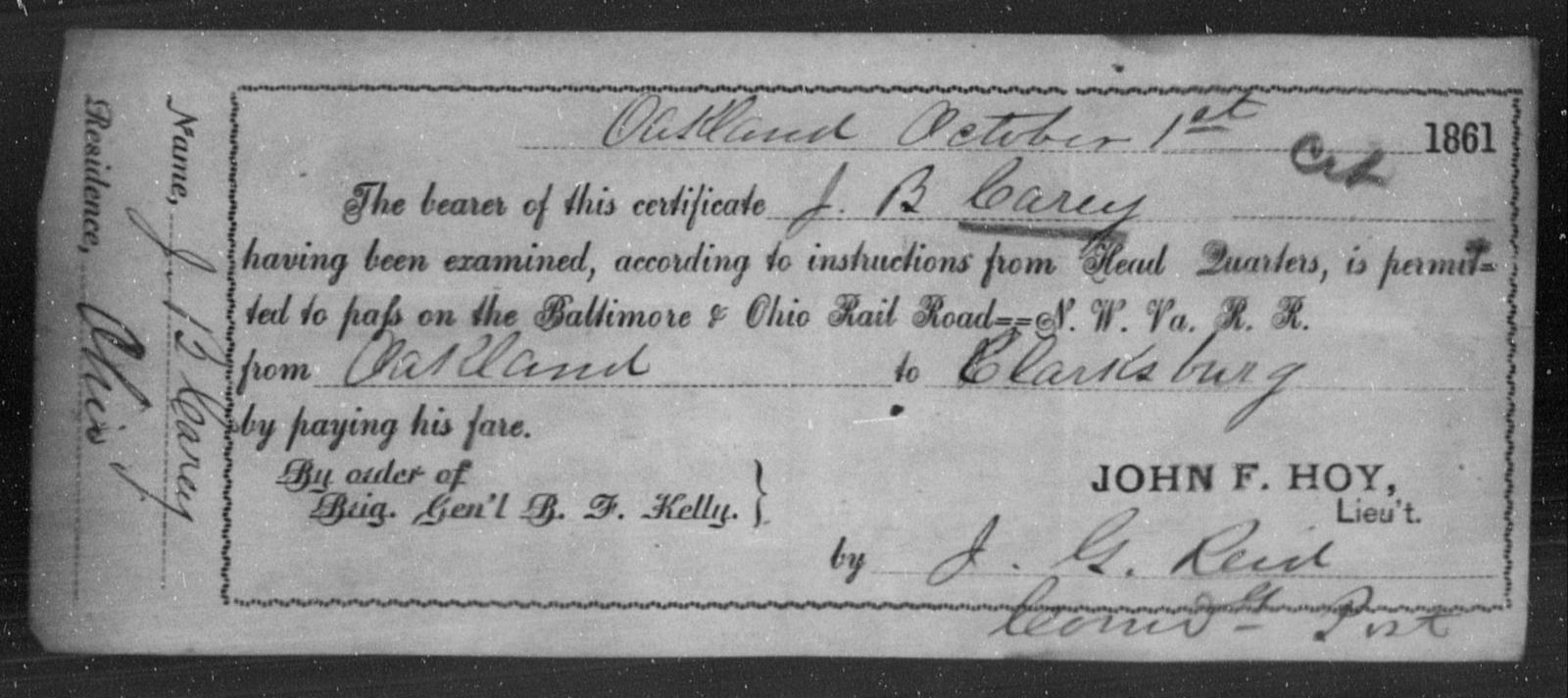Carey, J B - State: Ohio - Year: 1861