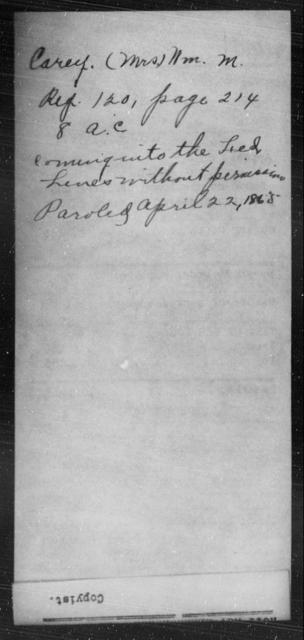 Carey, Wm M - State: [Blank] - Year: 1865