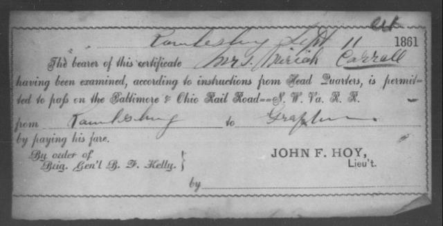 Carroll, Mariah - State: Ohio - Year: 1861