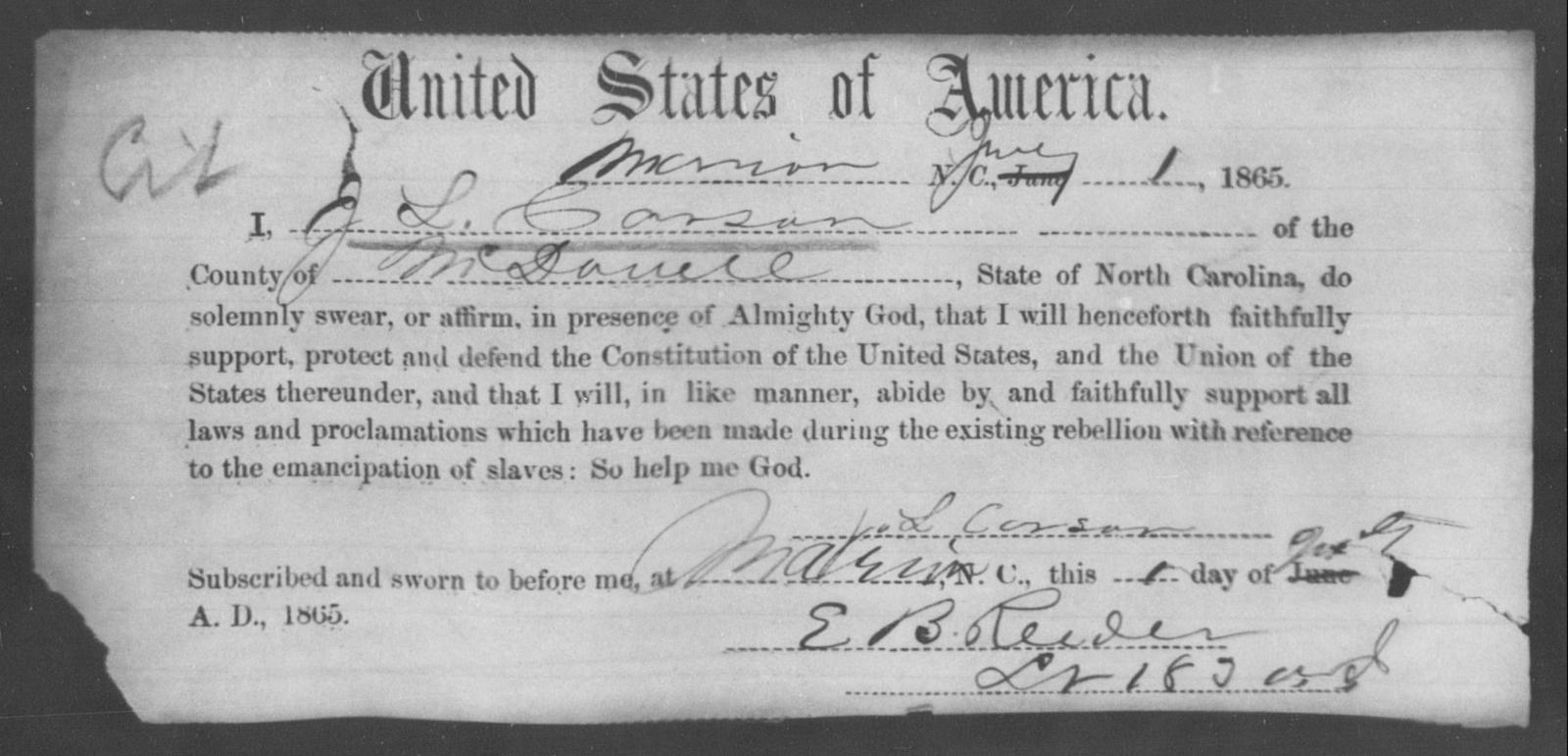 Carson, J L - State: North Carolina - Year: 1865