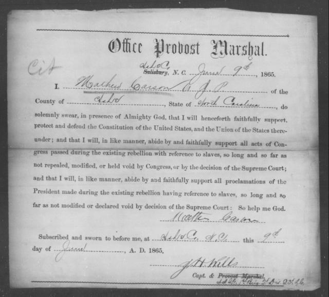 Carson, Mathew - State: North Carolina - Year: 1865