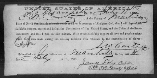 Carter, S W - State: North Carolina - Year: 1865