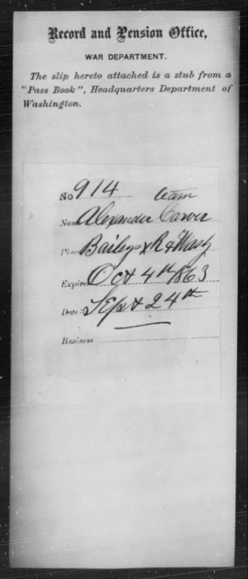 Carver, Alexander - State: Washington - Year: 1863