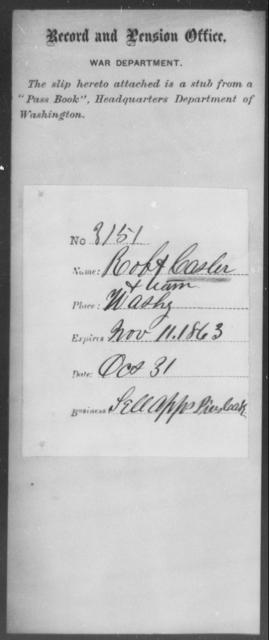 Casler, Robt - State: Washington - Year: 1863