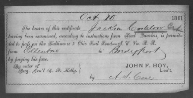 Casleton, Jackson - State: Ohio - Year: 1861