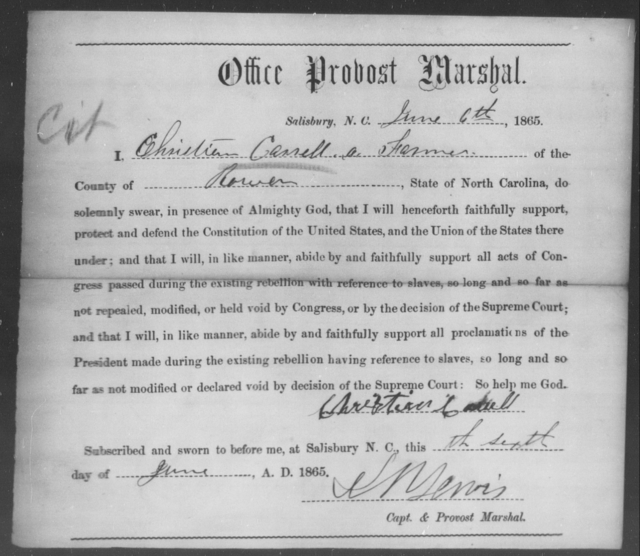 Cassell, Christian - State: North Carolina - Year: 1865