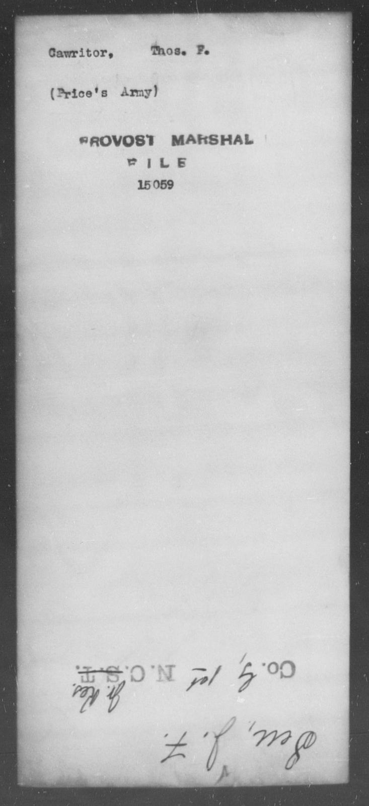 Cawritor, Thos F - State: [Blank] - Year: [Blank]