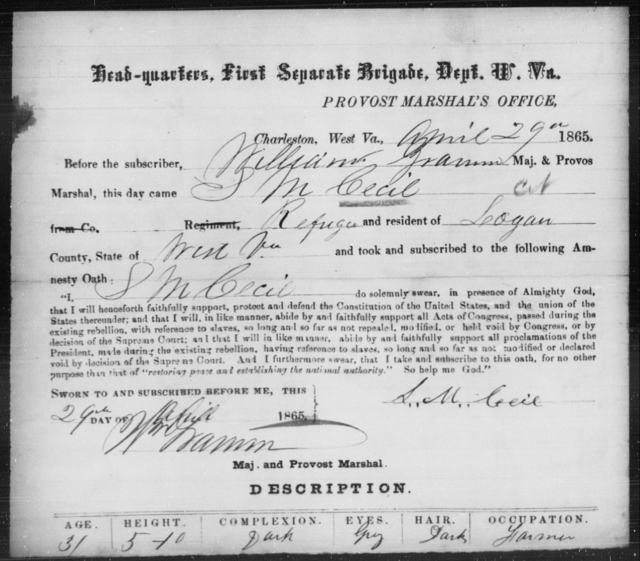 Cecil, S M - State: West Virginia - Year: 1865