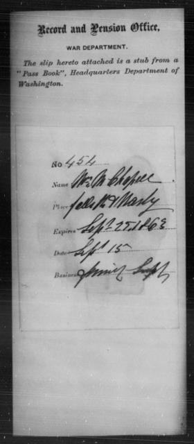 Chappell, Wm M - State: Washington - Year: 1863
