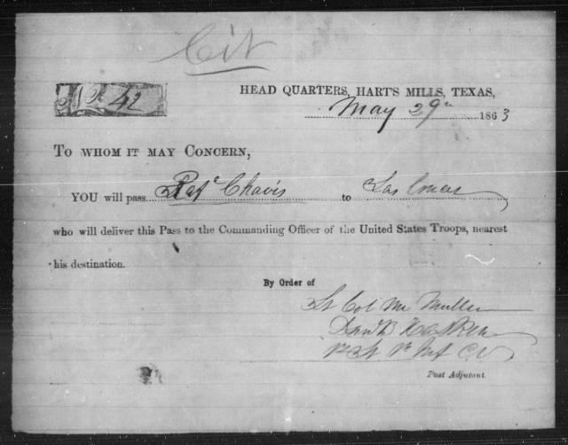 Chavis, R A - State: Texas - Year: 1863