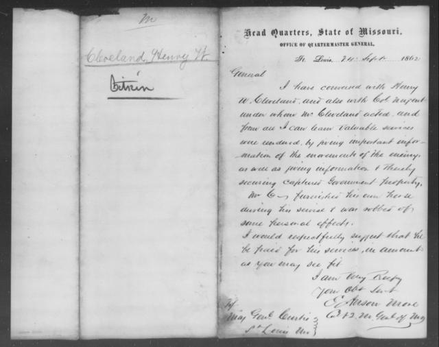 Cleveland, Henry W - State: Missouri - Year: 1862