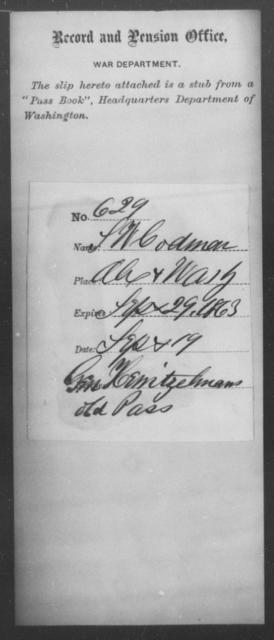 Codman, S W - State: Washington - Year: 1863