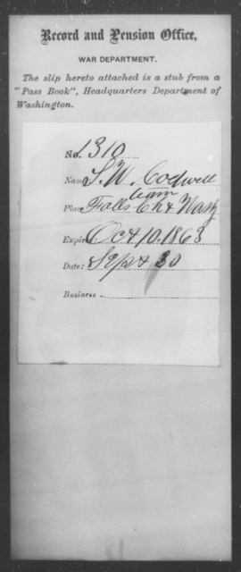 Codwell, S W - State: Washington - Year: 1863
