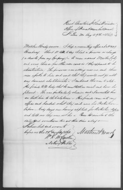 Cody, Mathew - State: Missouri - Year: 1862