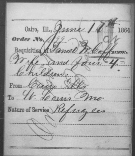 Coffman, Daniel W - State: Illinois - Year: 1864