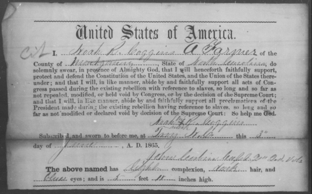 Coggins, Noah R - State: North Carolina - Year: 1865