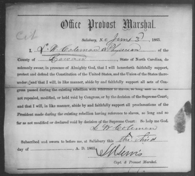 Coleman, S W - State: North Carolina - Year: 1865