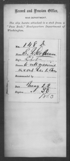 Coleman, S W - State: Washington - Year: 1863