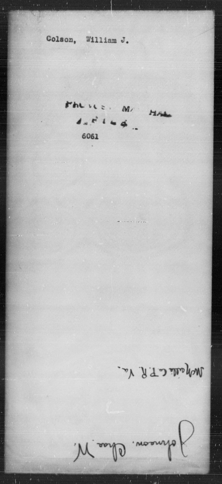 Colson, William J - State: [Blank] - Year: [Blank]