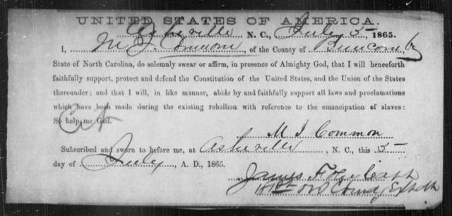 Common, M J - State: North Carolina - Year: 1865