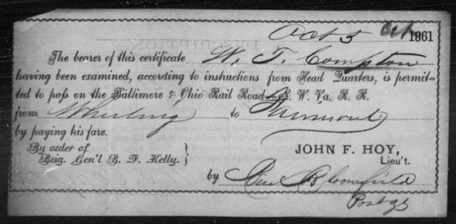 Compton, W T - State: Ohio - Year: 1861