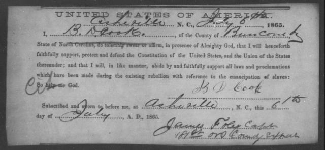 Cook, B D - State: North Carolina - Year: 1865