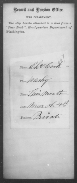 Cook, Chas - State: Washington - Year: 1863