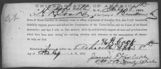 Cook, H R - State: North Carolina - Year: 1865